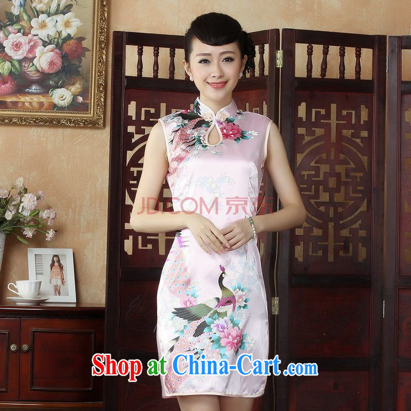 For Pont Sond� Ms. Diana dresses cheongsam Chinese improved summer dresses, for the hard-pressed Peacock short cheongsam J 5145 pink L