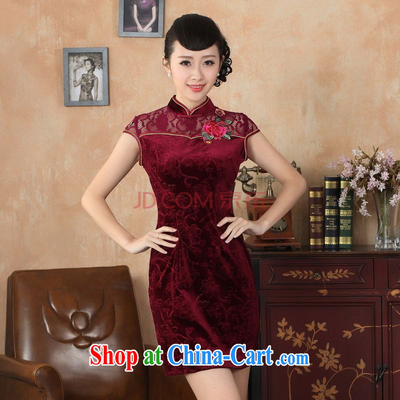 Nigeria, the Summer new female lace cheongsam dress improved daily thin embroidered cheongsam D M 0256