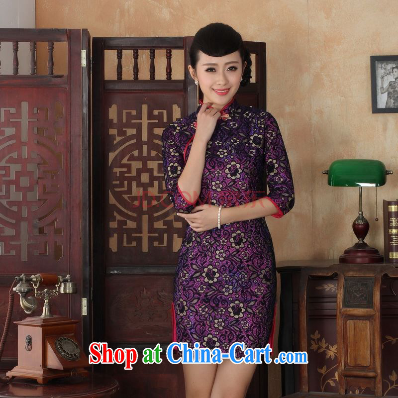 Nigeria, the Summer new Chinese cheongsam dress lace beauty cheongsam dress stylish improvements in antique dresses cuff picture color XXL