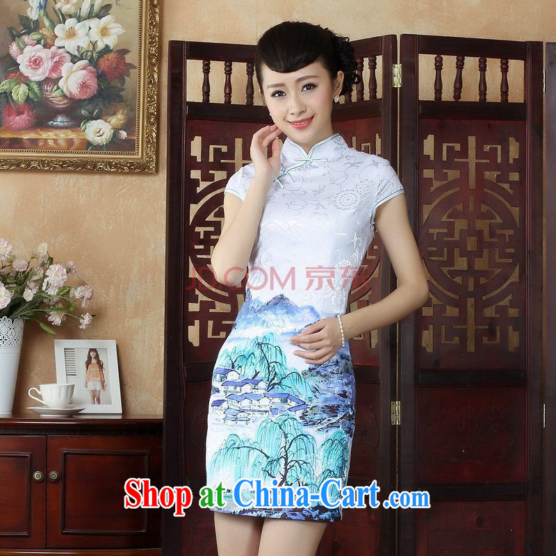 The Nigerian Government, Ms. dresses qipao Chinese improved cheongsam dress Chinese short ethnic wind dress dresses picture color XXL