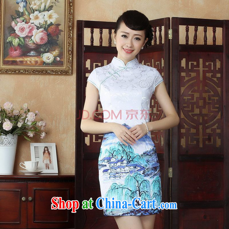 The Nigerian Government, Ms. dresses qipao Chinese improved cheongsam dress Chinese short ethnic wind dress dresses picture color XXL, Nigeria, and, on-line shopping