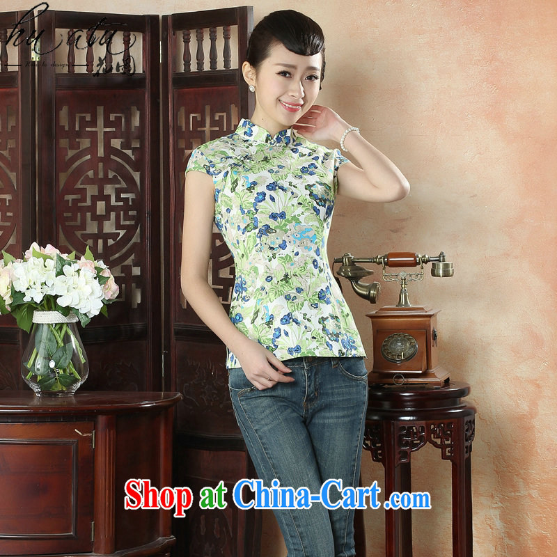 spend the summer new cheongsam shirt Tang Women's clothes Chinese improved, for cotton the floral Daily, Chinese as the color 2 XL