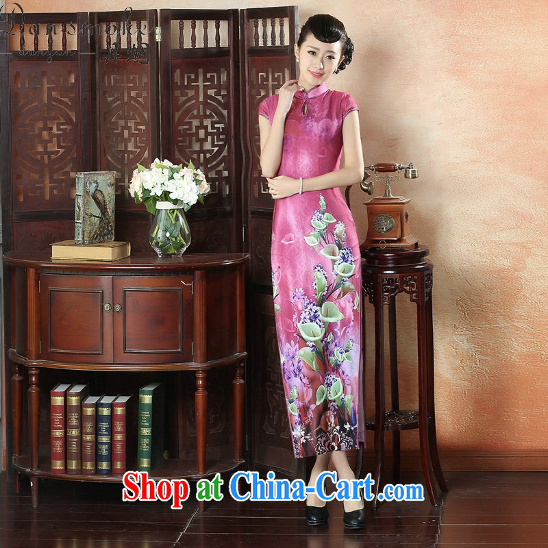 Bin Laden smoke banquet long summer dresses with new, improved Chinese qipao Tang Women's clothes, collar elegant short-sleeved long cheongsam dress figure-color 2 XL