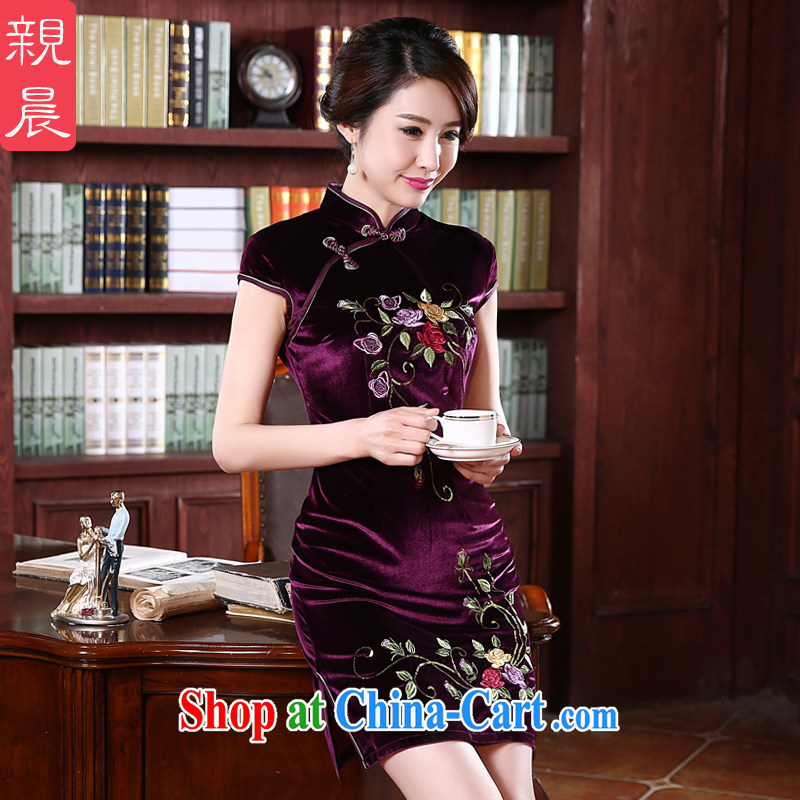 pro-am 2015 New Year in spring and summer retro upscale gold velour wedding mom with cheongsam dress improved stylish violet L