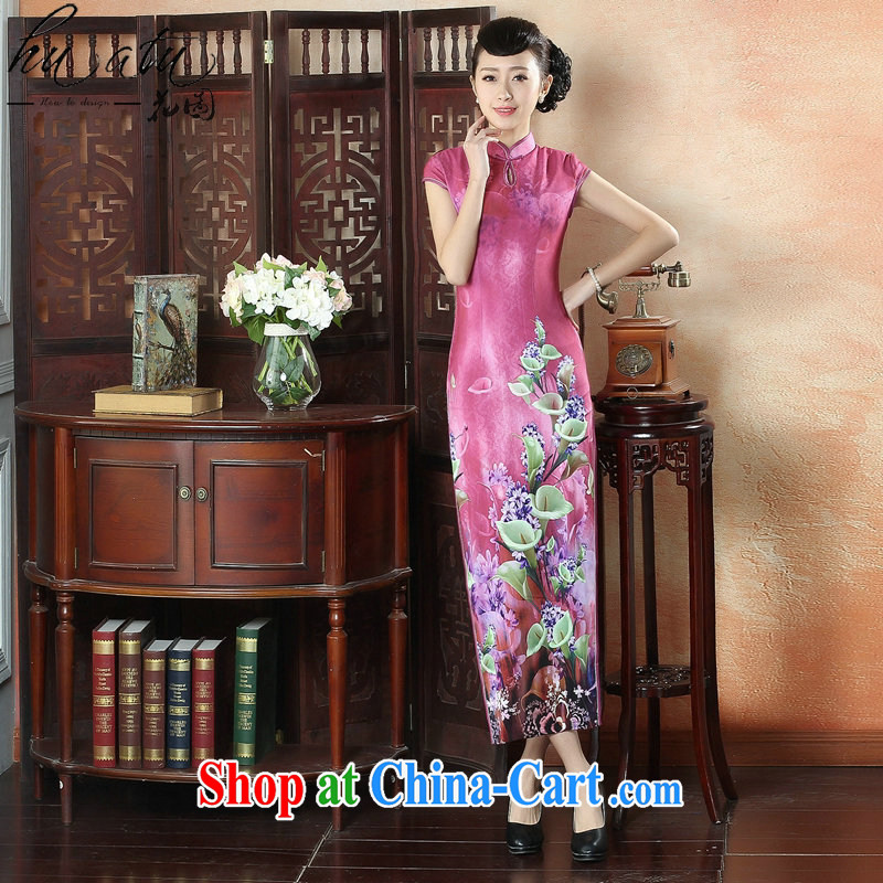 Take the banquet long summer dresses with new, improved Chinese qipao Tang Women's clothes, collar elegant short-sleeved long cheongsam dress figure-color 2 XL
