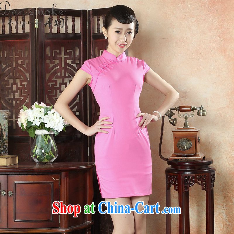 Dan smoke summer short cheongsam with new female Chinese improved, for solid-colored retro art-tie daily short cheongsam pink 2 XL