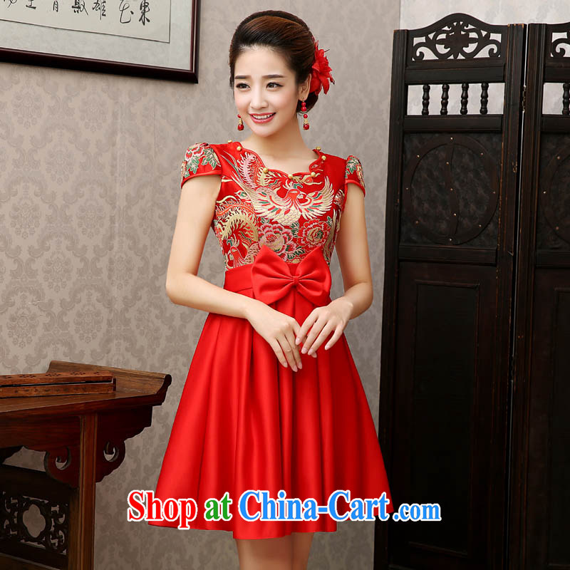 The china yarn spring 2015 short bridal improved cheongsam retro large code Chinese marriage Phoenix and peony wine dress stage red made size final