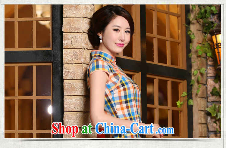 The absence of Windsor, qipao summer short, literature and art nouveau package shoulder short-sleeved checkered daily goods improved fashion cheongsam dress ZA 324 grid L pictures, price, brand platters! Elections are good character, the national distribution, so why buy now enjoy more preferential! Health