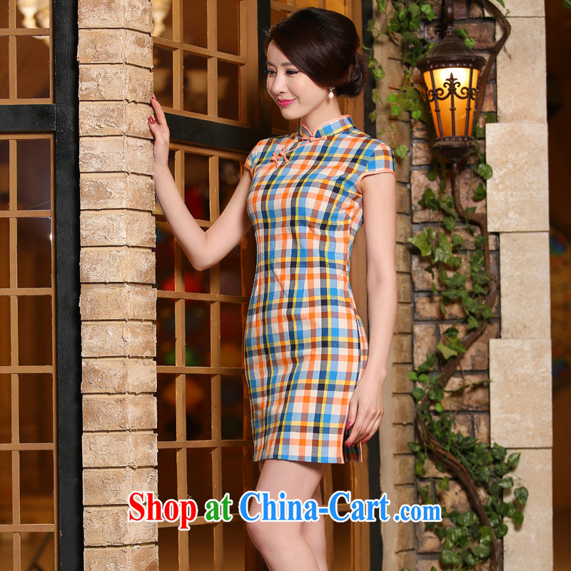 The absence of Windsor, qipao summer short, literature and art nouveau package shoulder short-sleeved checkered daily goods improved fashion cheongsam dress ZA 324 grid L, Yee-Elizabeth, and shopping on the Internet