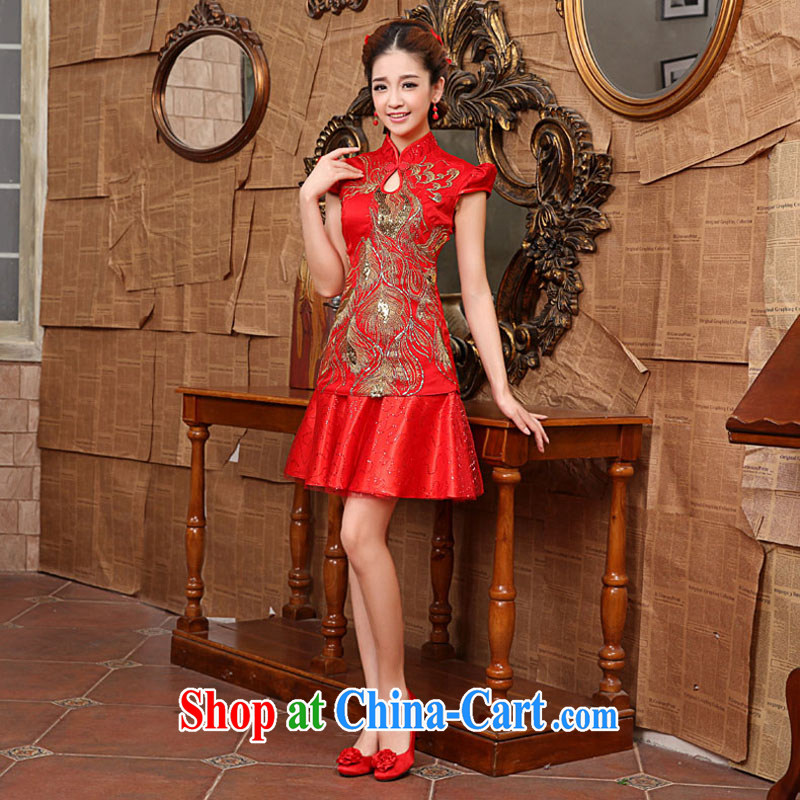 The china yarn bridal retro beauty red improved cheongsam lovely happy marriage toast evening dress dress ceremonial welcome banquet dress red made size is not returned.