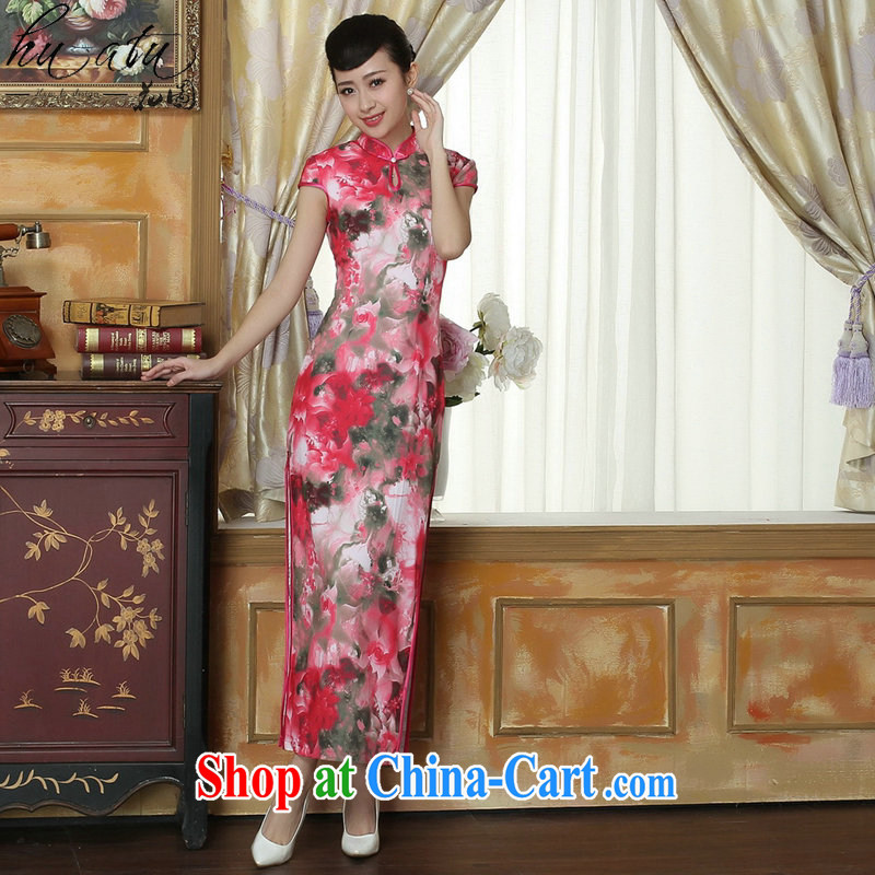 spend the summer new cheongsam Chinese clothing improved the collar Tang Women's clothes cheongsam banquet silk short-sleeved long robes as the color 2 XL