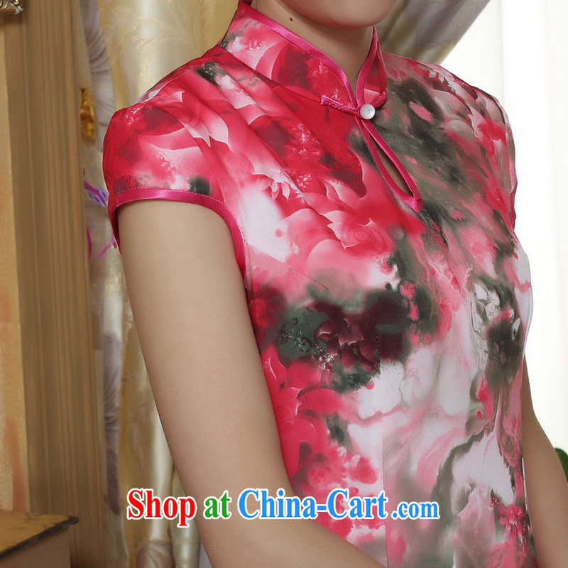spend the summer new cheongsam Chinese clothing improved, for Chinese women's clothing cheongsam banquet silk short-sleeved long robes as the color 2 XL, spend figure, and shopping on the Internet