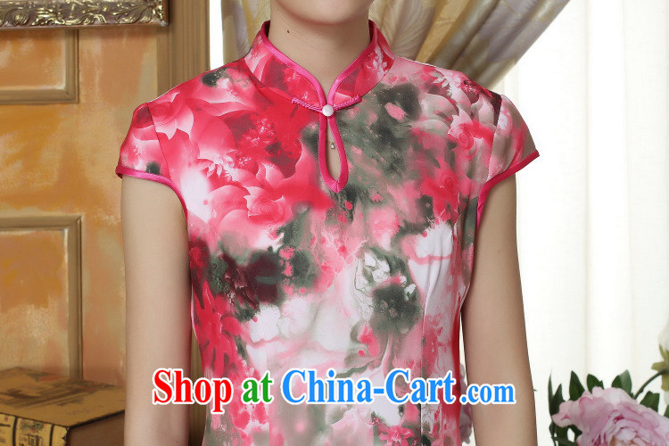 Bin Laden smoke-free summer new cheongsam Chinese clothing improved, for Chinese Women cheongsam banquet silk short-sleeved long robes as color 2XL pictures, price, brand platters! Elections are good character, the national distribution, so why buy now enjoy more preferential! Health