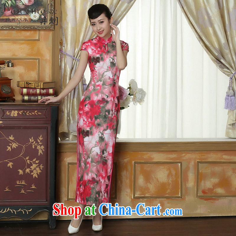 Bin Laden smoke-free summer new cheongsam Chinese clothing improved the collar Tang Women's clothes cheongsam banquet silk short-sleeved long robes as the color 2 XL