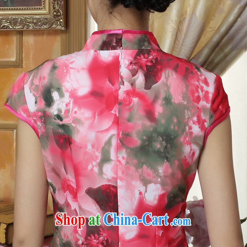 Dan smoke-free summer new cheongsam Chinese clothing improved, for Chinese women's clothing cheongsam banquet silk short-sleeved long robes as the color 2 XL, Bin Laden smoke, shopping on the Internet