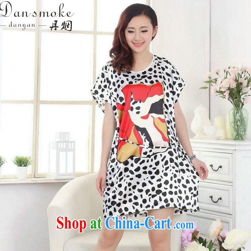 Dan smoke summer new female Chinese bathrobe round-collar embossed Leopard loose emulation, short-sleeved dresses pajamas as the color code