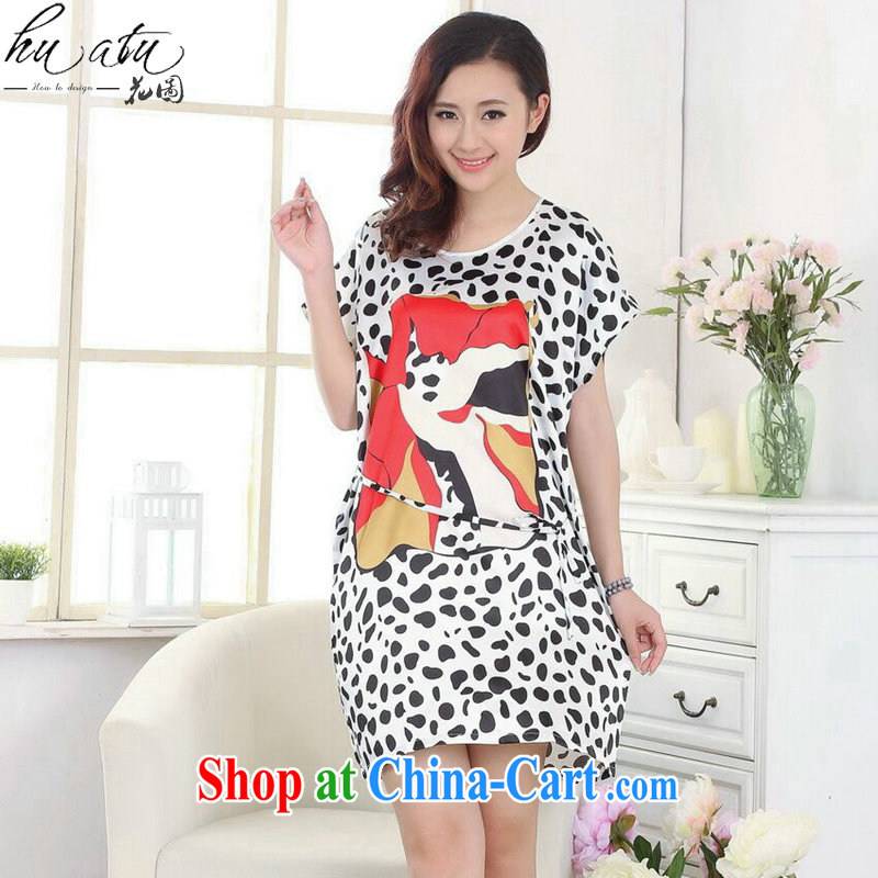 spend the summer new female Chinese bathrobe with embossed Leopard loose emulation, short-sleeved dresses pajamas figure color code