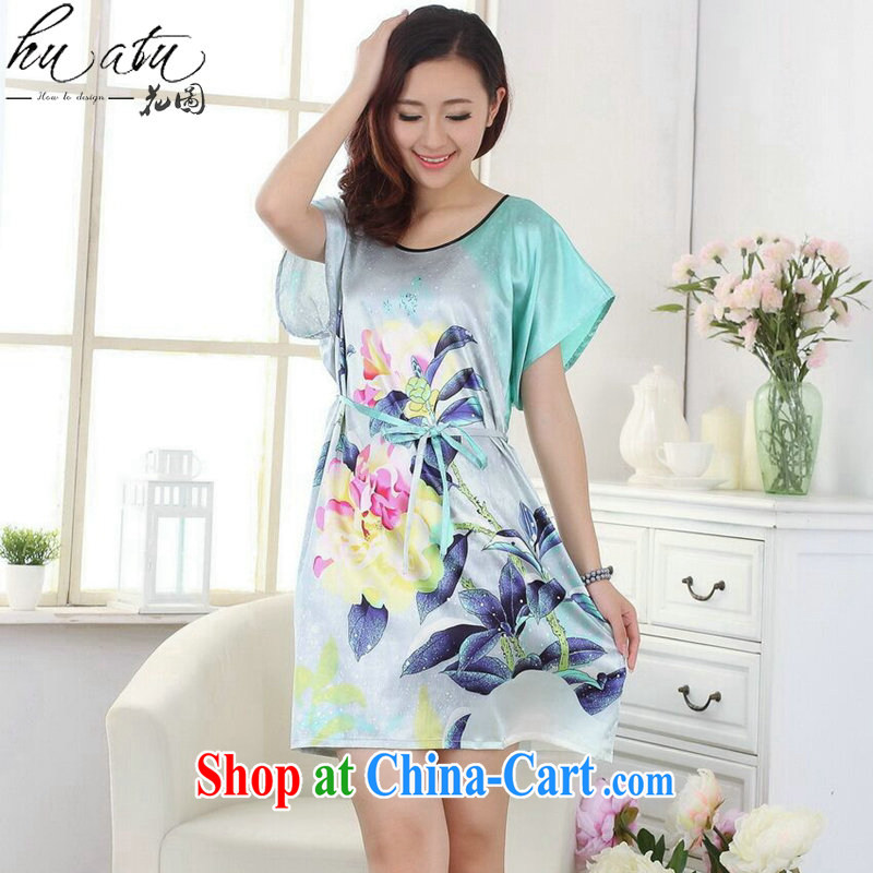 Take the female summer new Chinese qipao round-collar clothes bathrobe robes hand-painted loose dresses pajamas - D Green are code