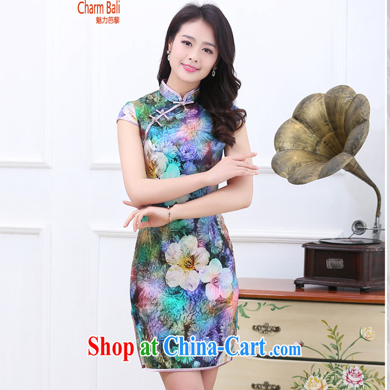 Summer 2015 decorated in stylish retro stamp silk short-sleeved qipao dresses 7 color XXL
