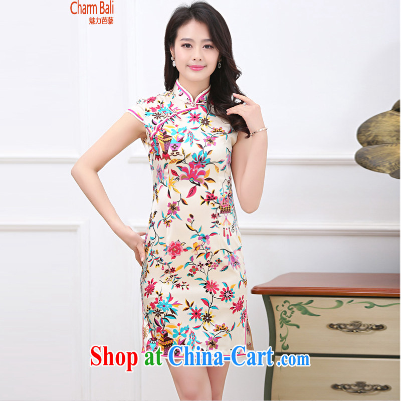 Hip Hop charm and Asia summer 2015 decorated in stylish retro stamp silk short-sleeved cheongsam dress saffron XXL