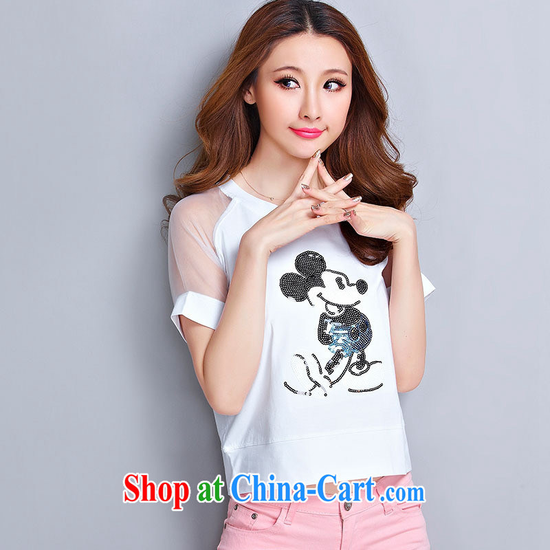 Ya-ting store the European site 2015 summer new female embroidery Web yarn stitching large code relaxed, short-sleeved T-shirt solid white T-shirt 2 XL
