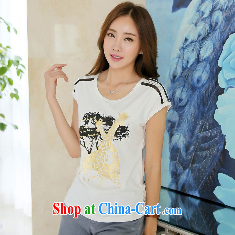 Ya-ting store 2015 summer new Korean short-sleeve T-shirt women T-shirt stamp beauty graphics thin large code T solid shirt by red 2 XL