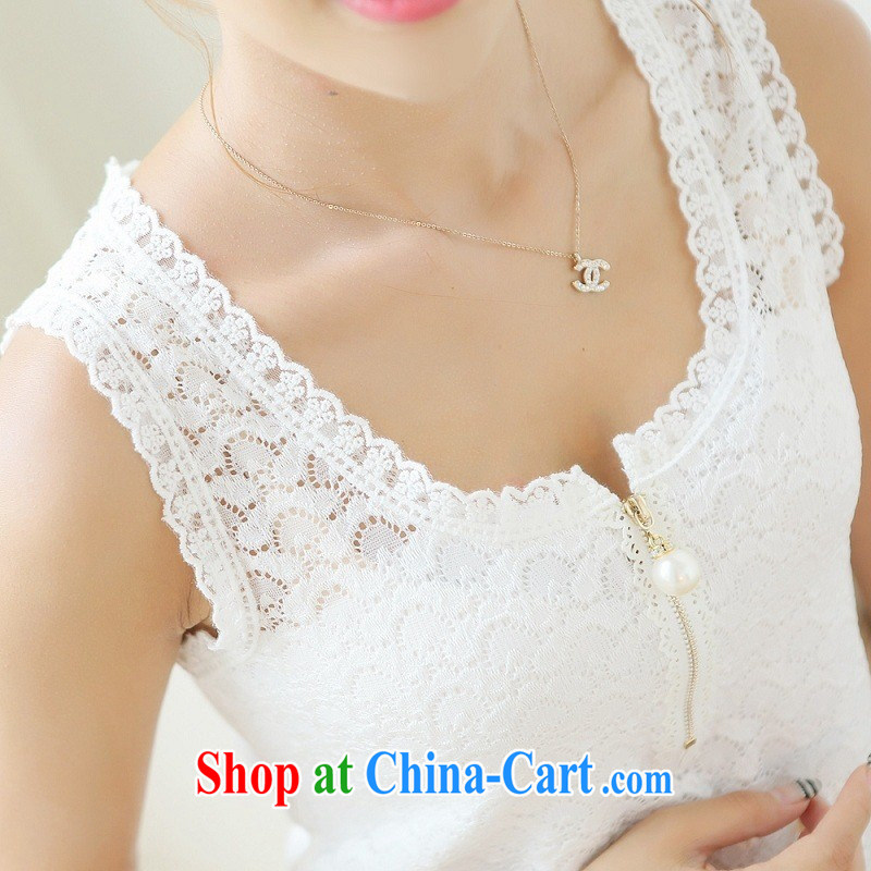 Ya-ting store 2015 summer new lace solid vest female Korean video thin large code beauty straps shirt solid black XXL