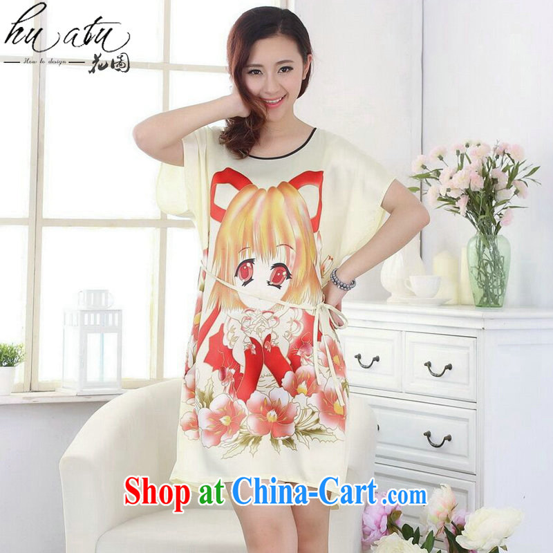 Take the Tang with bathrobe pajamas summer new women's clothing with hand-painted loose-tang with dress short-sleeved gown - F yellow are code