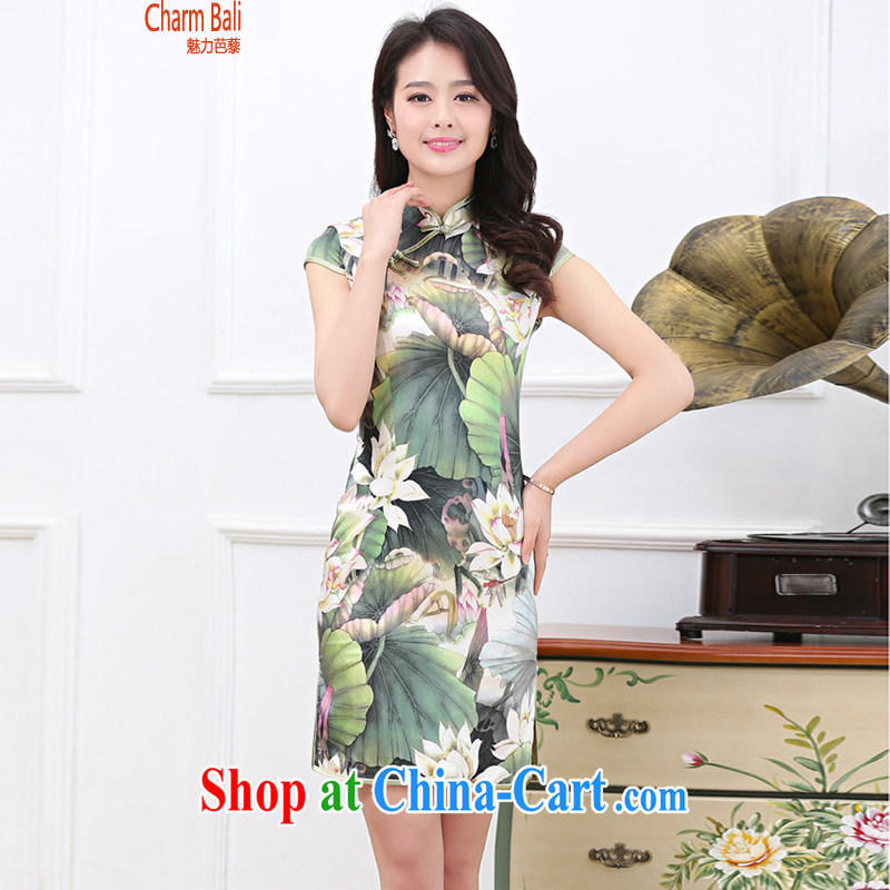 Hip Hop charm and Asia summer 2015 decorated in stylish retro stamp silk short-sleeved qipao dresses Lotus Pond XXL