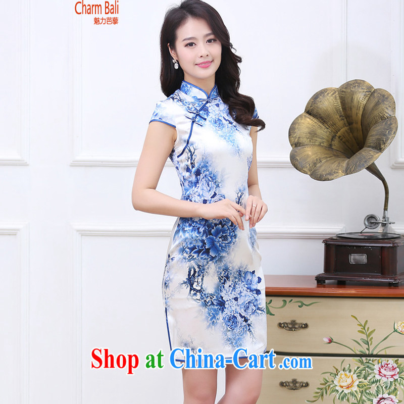 Summer 2015 decorated in stylish retro stamp silk short-sleeved cheongsam dress blue and white porcelain XXL