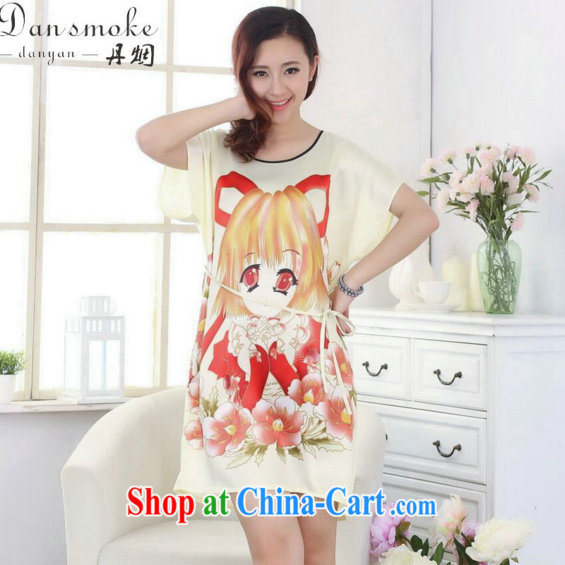 Bin Laden smoke Tang with bathrobe pajamas summer new women with round-collar hand-painted loose-tang with dress short-sleeved gown - F yellow are code