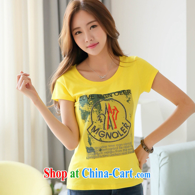 Ya-ting store 2015 summer new Korean female short-sleeved T-shirt girl stamp beauty graphics thin large code T shirt solid white T-shirt 2 XL