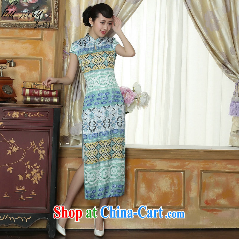 spend the summer wear cheongsam Chinese New female Chinese improved retro, for national wind elegant banquet long robes as the color 2 XL