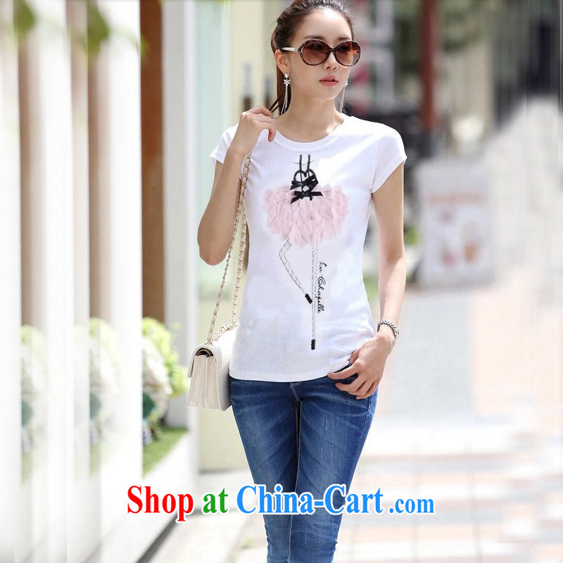 Ya-ting store 2015 summer new Korean female white short-sleeve T-shirt large, cultivating solid shirt short-sleeved shirt T female white XL