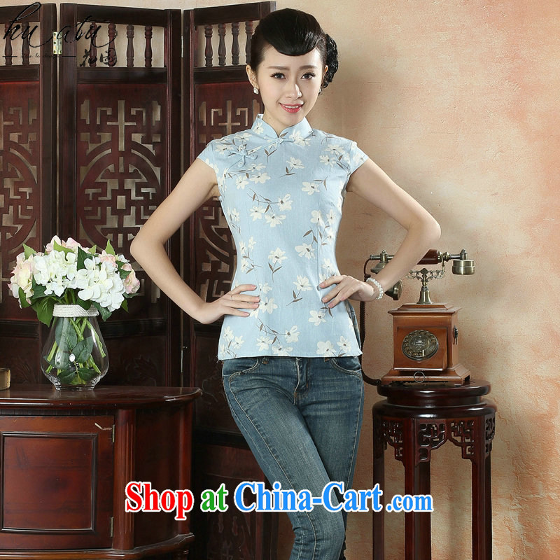 spend the summer new cheongsam shirt Tang Women's clothes Chinese improved, leading literary light short-sleeved Ms. load such as the color 2 XL