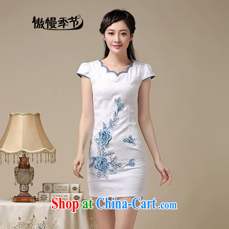 Arrogant season summer 2015 new embroidery cheongsam dress girls improved daily package and a short-sleeved-stamp duty waist cheongsam dress girls blue floral S