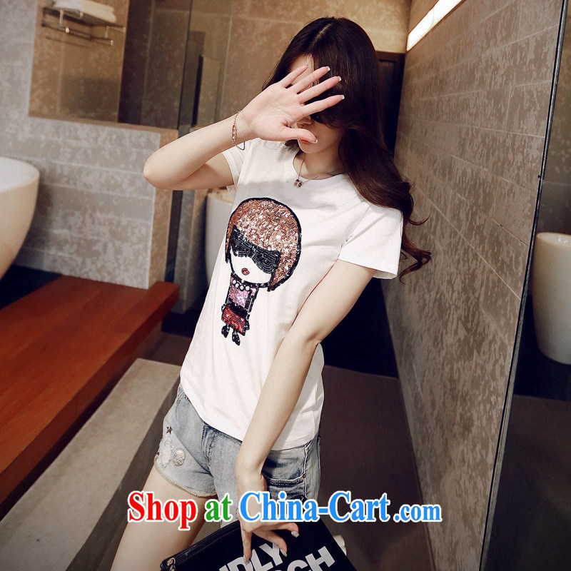 Ya-ting store real-time concept 2015 summer new Korean female pearl-embroidered dolls and good model short-sleeved T-shirt solid white T-shirts L