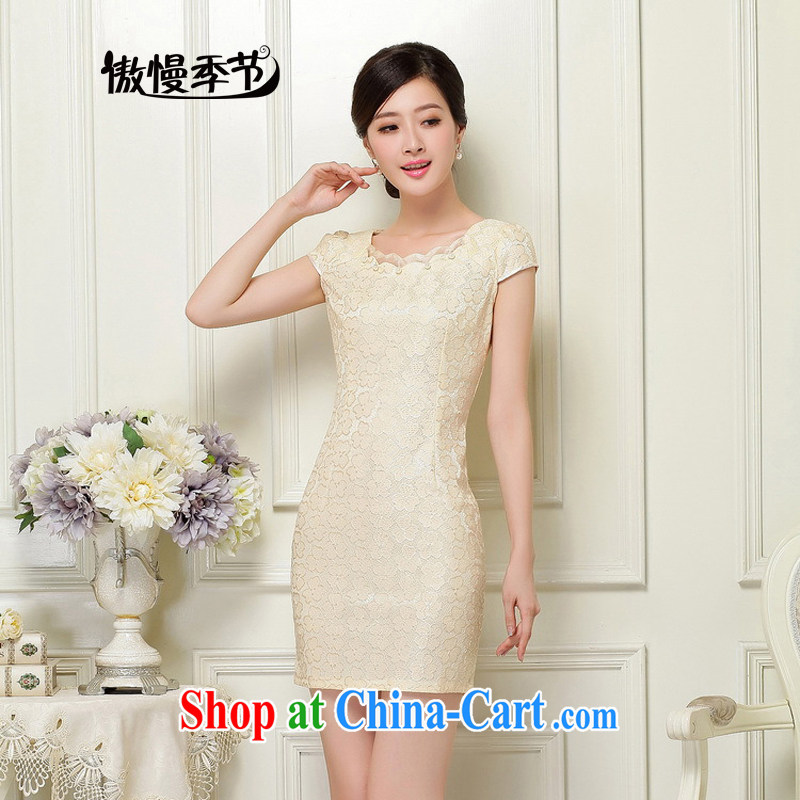 Arrogant season 2015 new spring and summer dresses lace cheongsam improved dress Openwork hook flower embroidery daily outfit apricot XL