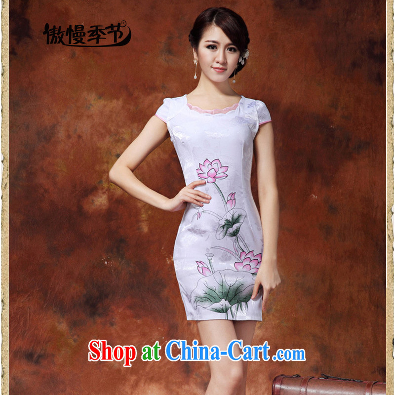 Arrogant season 2015 summer beauty graphics thin skirt stylish improved daily beauty style dresses dresses female white XXL