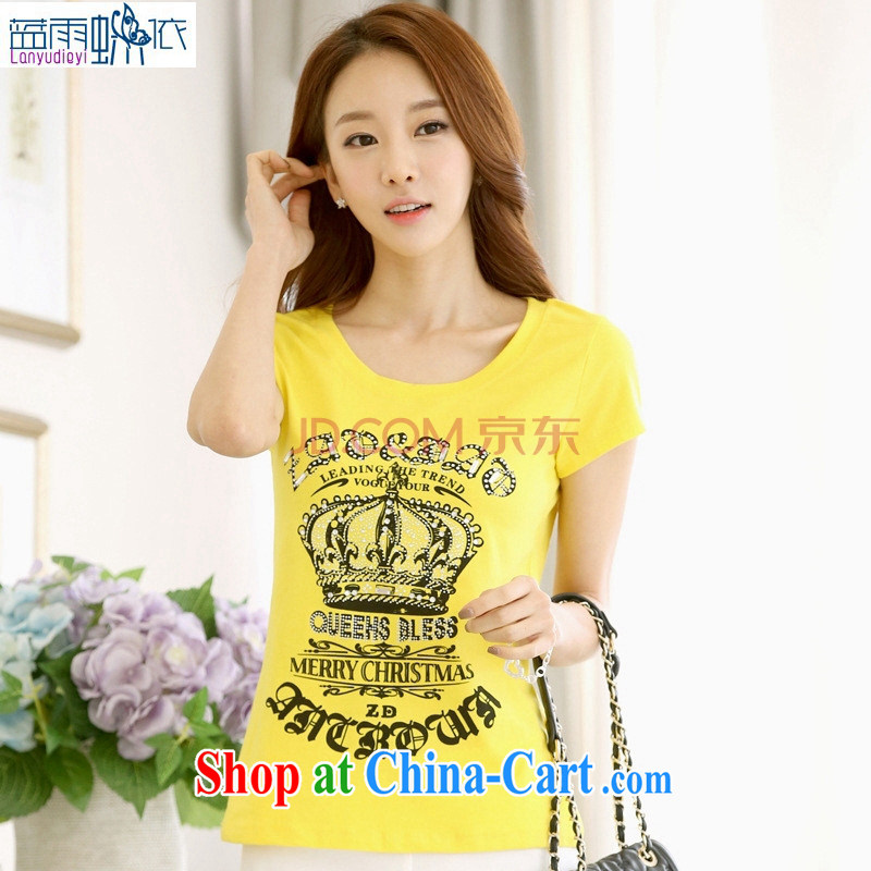 Ya-ting store 2015 short-sleeved T-shirt girls summer Korean Beauty half sleeve shirt T larger women video thin stamp solid T shirt yellow 2 XL