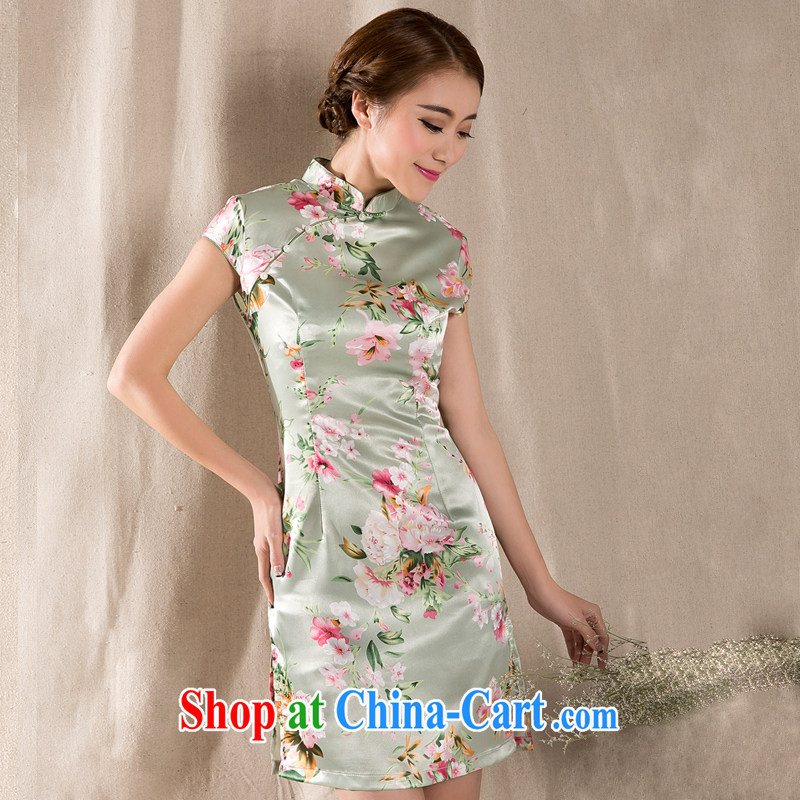 Cool self-summer 2015 new tray snap stamp arts ethnic wind improved retro cheongsam dress China wind light green XL