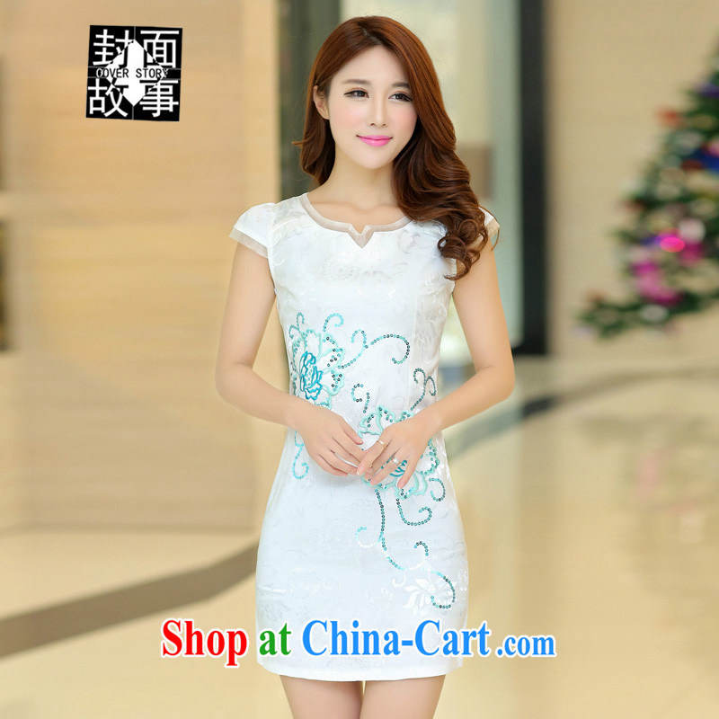 Cover Story 2015 spring and summer new short sleeve cheongsam dress retro beauty graphics thin, long embroidered embroidery cheongsam dress white XL