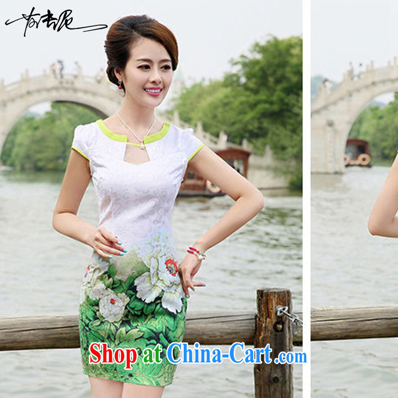 2015 new summer waist-cultivating improved cheongsam elegant fresh stamp pack and dress women 8887 green Peony flower XXL