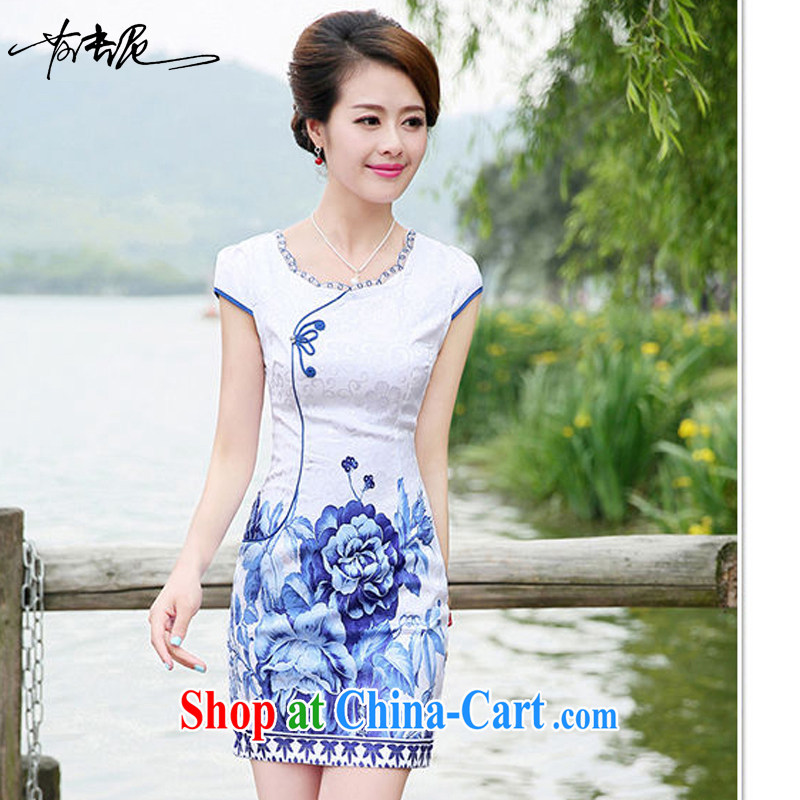 2015 new summer dresses Ms. package and cultivating graphics thin elegant sexy dress, 8886 the M