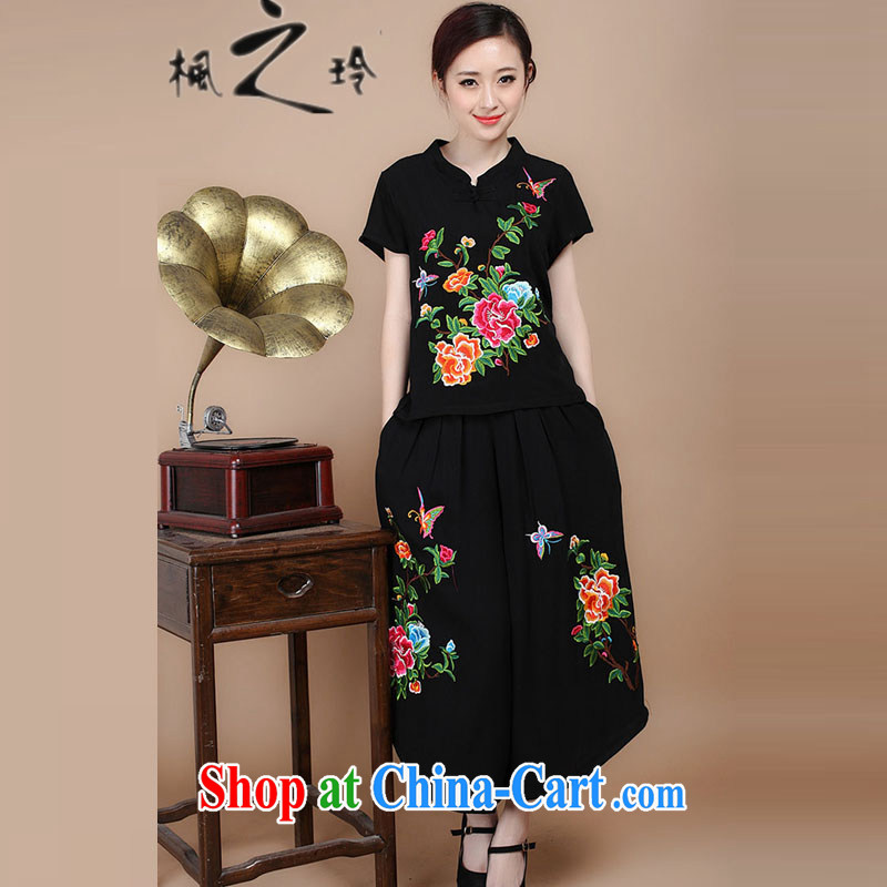 2015 summer new round-collar short-sleeve loose the code cotton embroidered ethnic wind Tang in older women with mother T-shirt pants Two Piece Set to sell black L