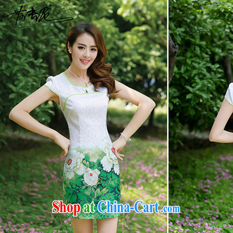 Improved stylish short large code 2014 new cheongsam dress dresses women's clothing summer long girls lace embroidery 8881 green Peony flower XXL
