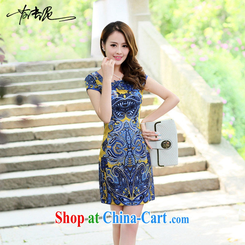 Summer 2015 new embroidery cheongsam dress girls improved daily packages and short-sleeved-waist stamp dresses 8880 yellow XXL