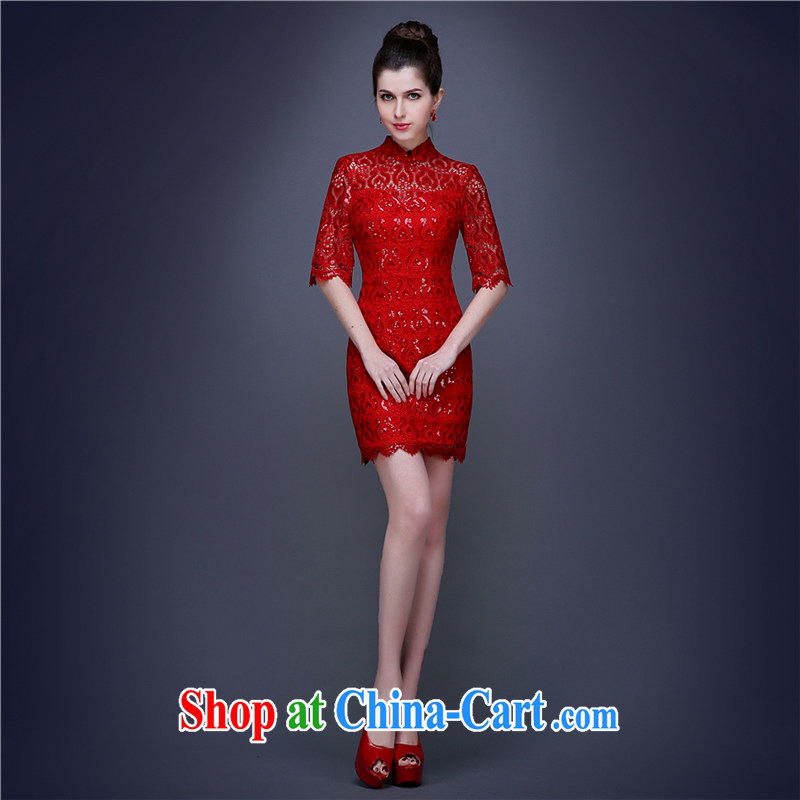 The Champs Elysees, as soon as possible, short, cultivating Chinese bridal dresses summer red wedding toast serving evening cuff in improved fashion dresses wedding dresses skirt red XL