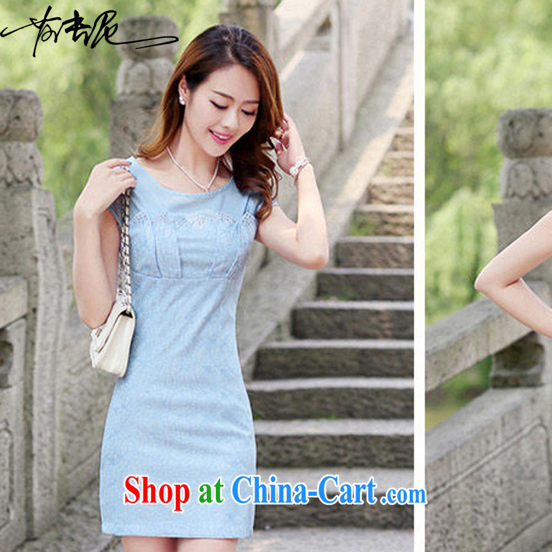 2015 new, decorated in summer, the waist short-sleeved dress elegant lace cheongsam package and 8877 blue XXL
