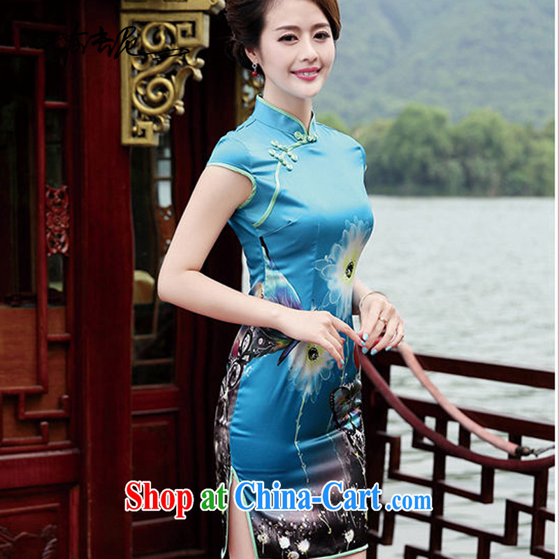 cheongsam dress retro upscale Peony cheongsam dress 2015 new summer short sleeved dresses daily dress 8833 - 1, the Butterfly XL